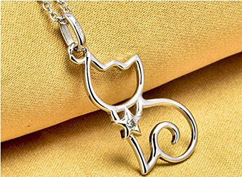 findout dames en argent sterling zircon cubique chat collier pendentif .pour femmes filles enfants. (f1599)