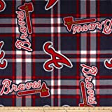 MLB Fleece Atlanta Braves Plaid Navy/Red Fabric By The Yard