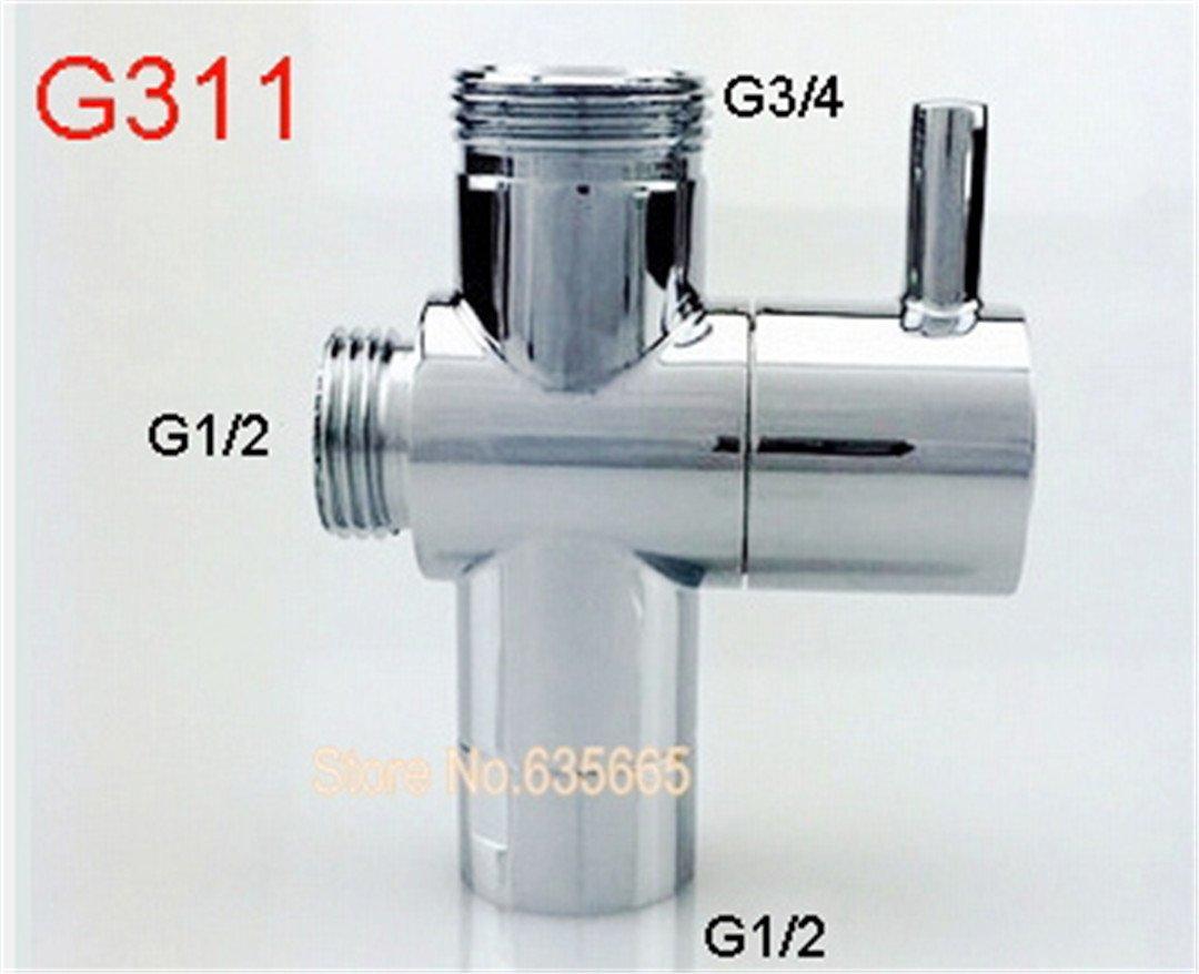 Brass Chrome Shower Diverter Valve Quick Opening Water Bidet Spray Faucet Angle Valve Tap Plumbing Bathroom Shower Accessories Red
