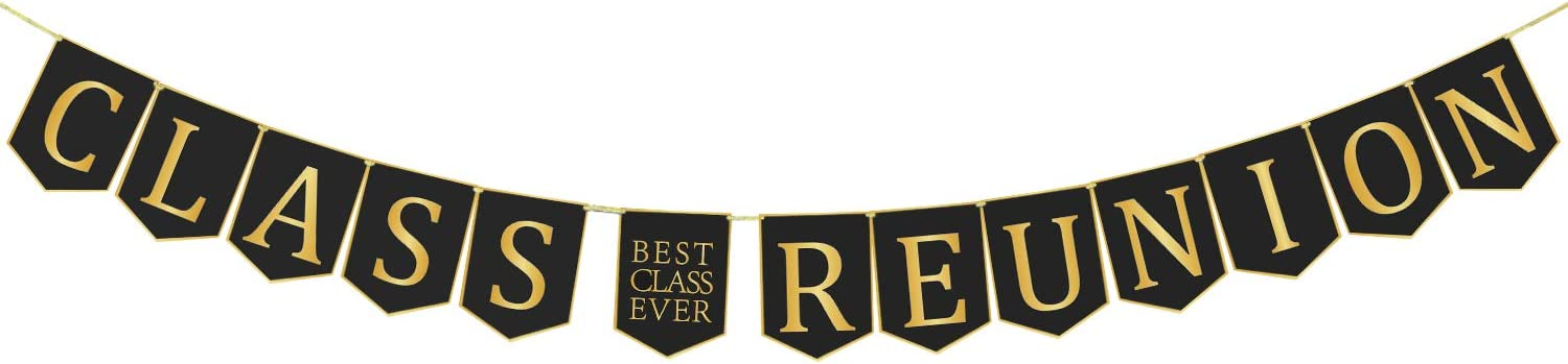 Class Reunion Banner Decorations Classmate Reunion Party Classy and Luxurious Decor Supplies for Schoolmate Gathering Party 13ft Length No DIY Required, Black and Gold