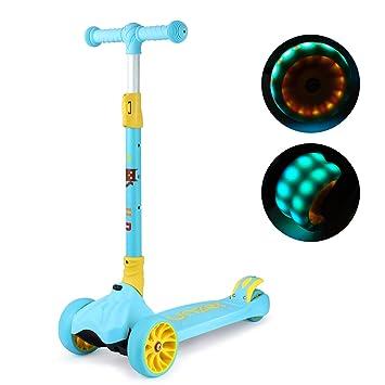 Gosfun Patinete 3 Ruedas Plegable con LED Luces Ruedas, 3 Ruedas Scooter con Freno Sensible para Niños de 3 a 12 Años,Carga Máxima 50 kg , Azul Claro