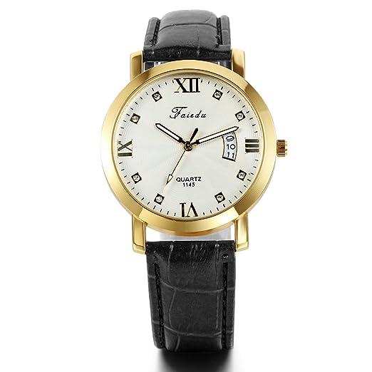 JewelryWe Reloj para hombre correa de piel negro FECHA números romanos muñeca reloj de cuarzo: Amazon.es: Relojes