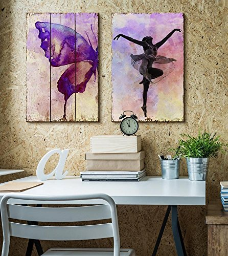 Watercolored Butterfly on a Wooden Background and an Elegant Ballerina on a Watercolor Background