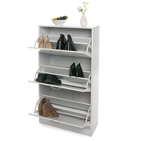 Home Treats White Wooden 3 Drawer Shoe Rack Pull Down Storage