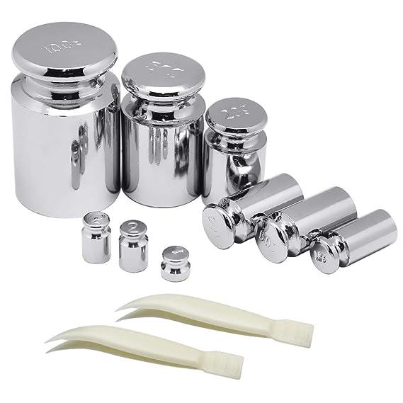 Hysagtek - Juego de 9 pinzas de calibre para balanza digital de peso, 2 piezas, uso general de laboratorio y educativo, 1 g, 2 g, 5 g, 10 g, 10 g, 20 g, ...