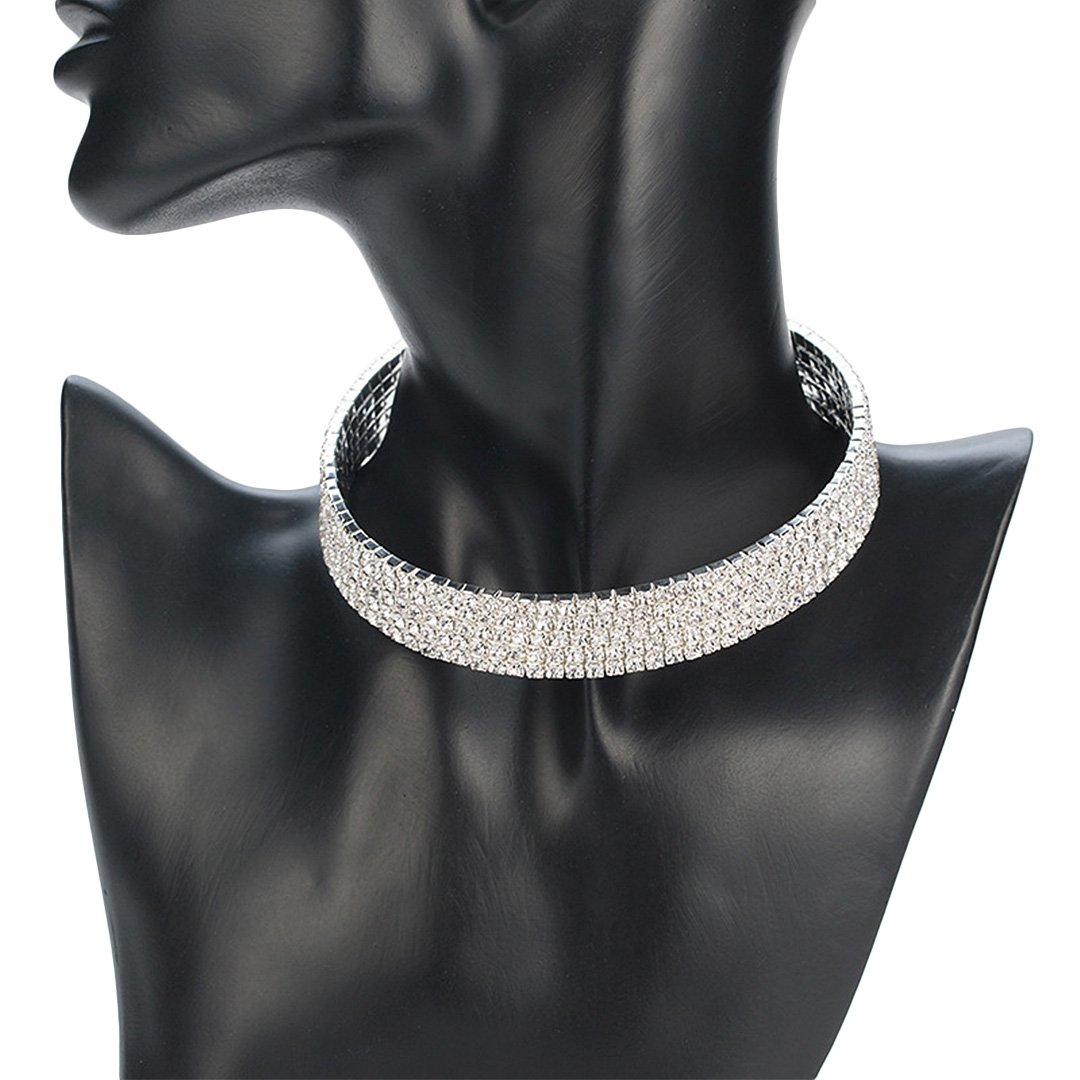 Naimo 3pcs Diamond Crystal Rhinestone Choker Necklace Wedding Collar Necklace (Included 3/4/5 row) by Naimo (Image #4)