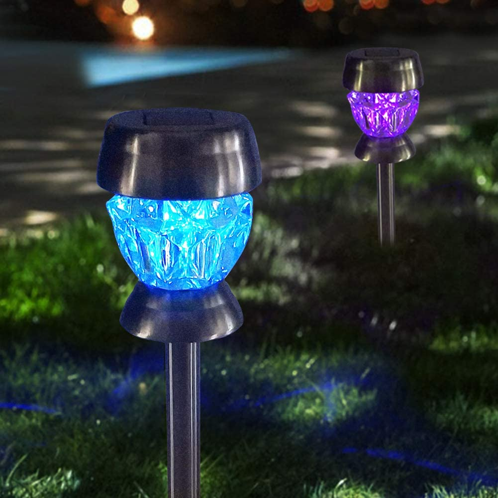 Bright Zeal 2-Pack Landscape Solar Lights Outdoor Pathway Color Changing - LED Path Lights Solar Powered Waterproof - Glass Diamond Multi Color Patio Lights Garden Decorative Stake Lights for Outdoors