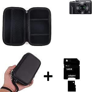 K-S-Trade Caso Duro, Estuche para Cámara Compacta Nikon Coolpix A1000, Bolsa, Prueba del Choque + 16GB Memoria: Amazon.es: Electrónica