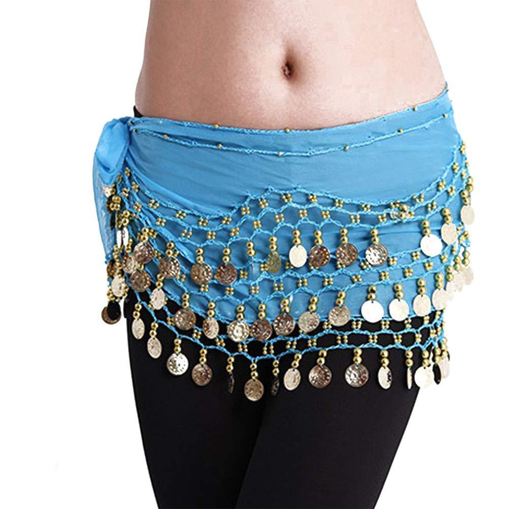 BYFRI Danza del ventre delle donne cinghia chiffon ciondolanti monete di oro del pannello esterno dellanca dellinvolucro della sciarpa della cinghia per Danza del Ventre