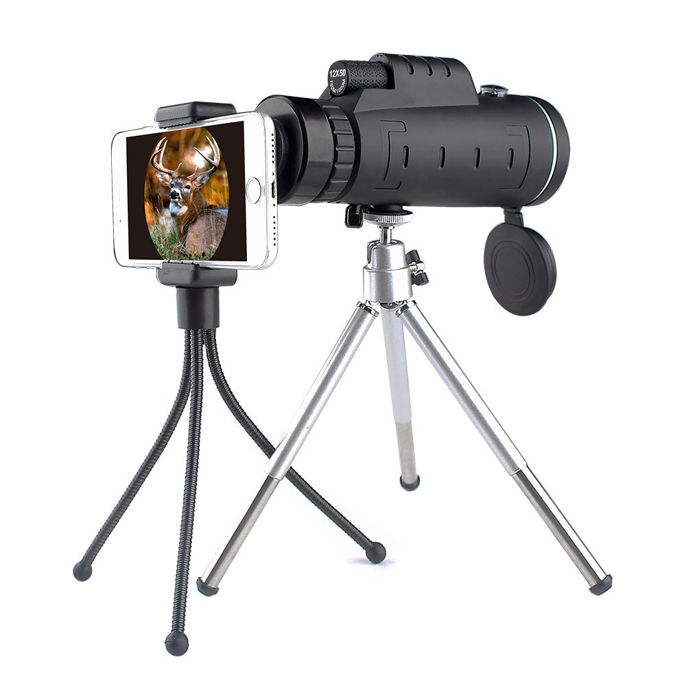 Monocular 12x50 Telescope for hunting, birdwatching and hiking- High Power Dual Focus and Waterproof by Imaisen