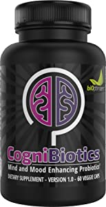 Cognibiotics - Brain and Mood-Enhancing Probiotic - Mood Booster - Anxiety and Stress Relief - Brain Supplement - Experience Better Focus, Memory, and Mental Clarity - 60 Capsules