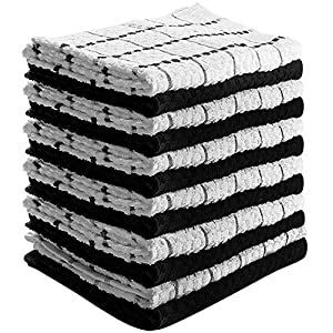 Kitchen Towels (12 Pack, 15 x 25 Inch) 100% Premium Cotton - Machine Washable - Extra Soft Set of 12 Black and White Dobby Weave Dish Towels, Tea Towels, Bar Towels - by Utopia Towels