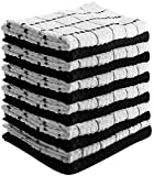 #3: Kitchen Towels (12 Pack, 15 x 25 Inch) 100% Premium Cotton - Machine Washable - Extra Soft Set of 12 Black and White Dobby Weave Kitchen Dish Cloths, Tea Towels, Bar Towels - by Utopia Towels
