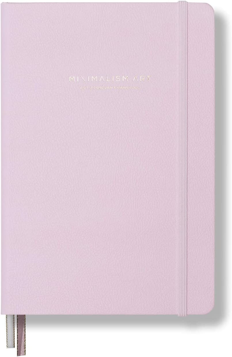 """Minimalism Art, Premium Hard Cover Notebook Journal, Large, Composition B5 7.6"""" x 10"""", 4 Rulings in 1, Pink, 234 Numbered Pages,Gusseted Pocket,Ribbon Bookmark,Ink-Proof Paper 120gsm, San Francisco"""