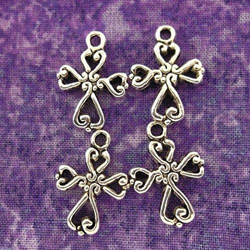 OutletBestSelling Pendants Beads Bracelet Antique Silver Alloy Metal Filigree Cross Charms 16 Pieces 20mm