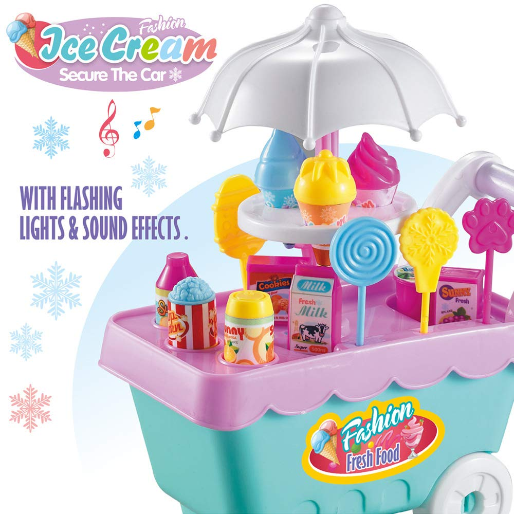 heytech Ice Cream Candy Cart 27 PCS Pretend Play Food Dessert and Cash Trolley Set Toys with Music and Lighting for Kids, Toddlers, Girls