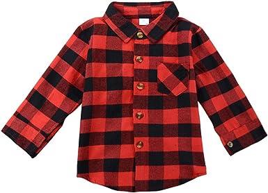 Brightup Camisa de Manga Larga para Niños, Niña Blusa de Manga Larga de Cuadros Rojos: Amazon.es: Ropa y accesorios