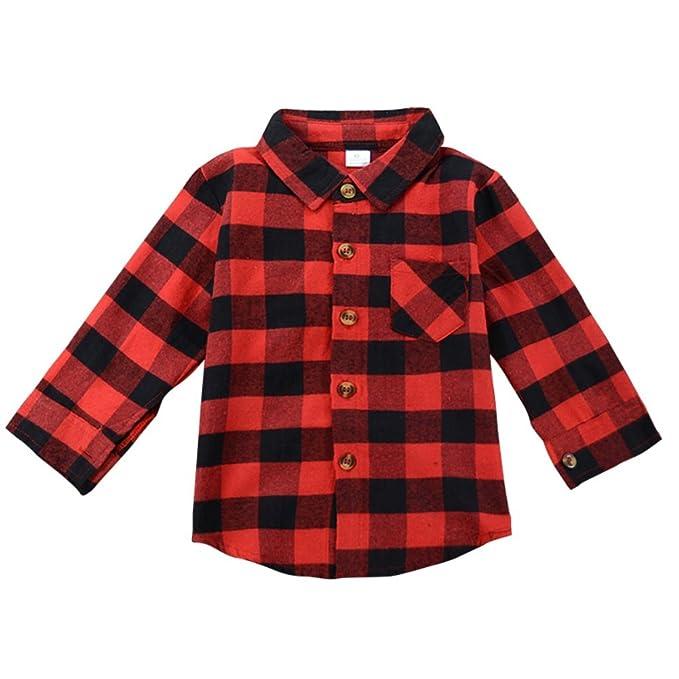 Camisa de manga larga para niños,Brightup Niña Blusa de manga larga de cuadros rojos