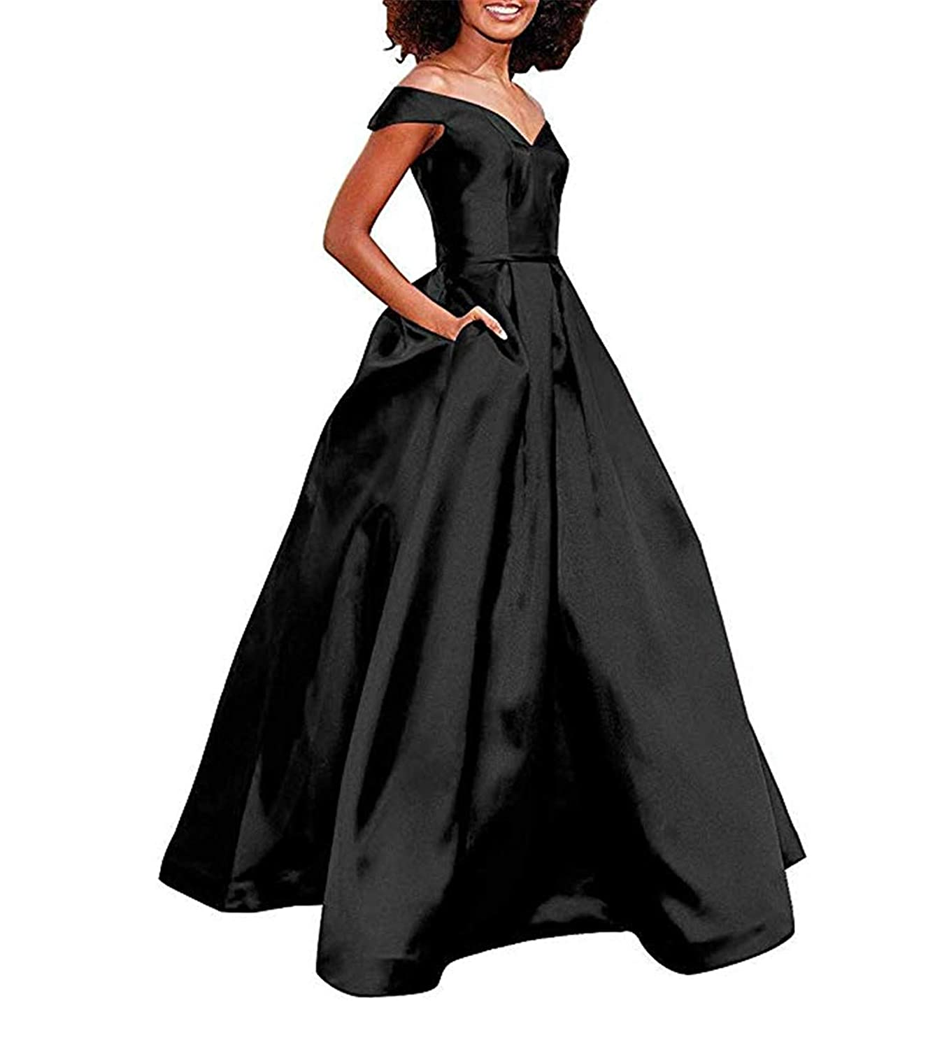 Black Women's Off The Shoulder A Line Prom Dress Satin Formal Party Ball Gown with Pockets