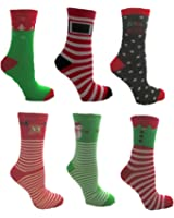 Ladies Christmas Novelty 6 Pack Socks Uk 4-7 Eur 37-41