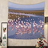 Jacquelyn A. Velasquez Custom tapestry group of pink flamingos on the sea at walvis bay the atlantic coast of namibia africa