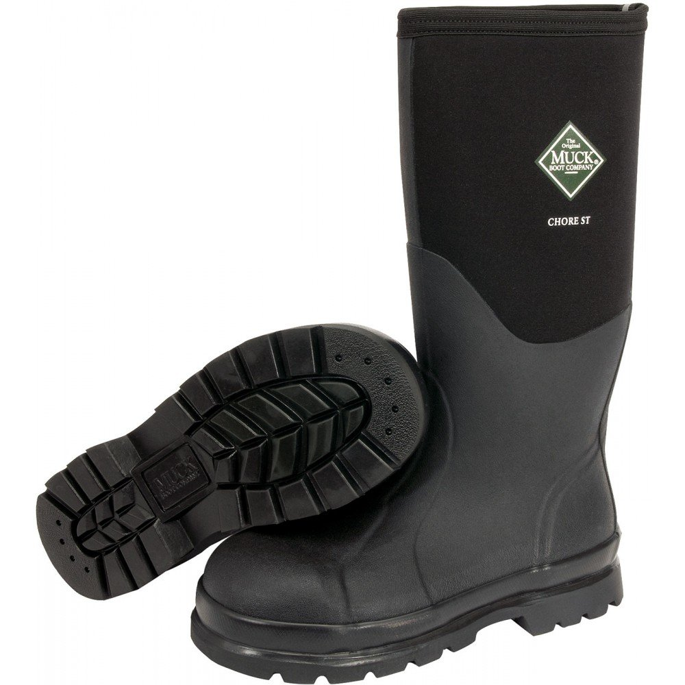 The Original MuckBoots Adult Chore Hi Boot Steel Toe,Black,Men's 7 M/Women's 8 M