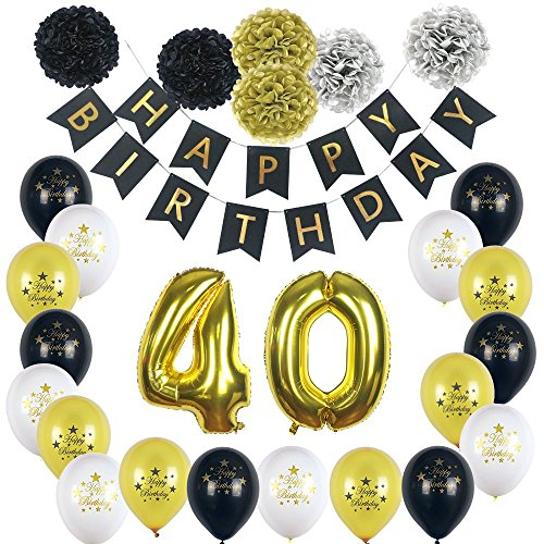 Happy 40th Birthday Party Decorations BlackWhiteSilver And Gold Complete