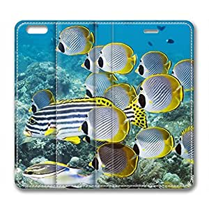 iPhone 6 Case, Fashion Protective PU Leather Slim Flip Case [Stand Feature] Cover for New Apple iPhone 6(4.7 inch) - Deep Sea Fishes Yellow