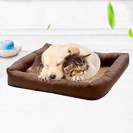 wangjie Alfombrilla de bambú para cama de mascota, cojín de verano, perro, gato, caseta antiácaros, almohadilla de refrigeración para dormir: Amazon.es: ...