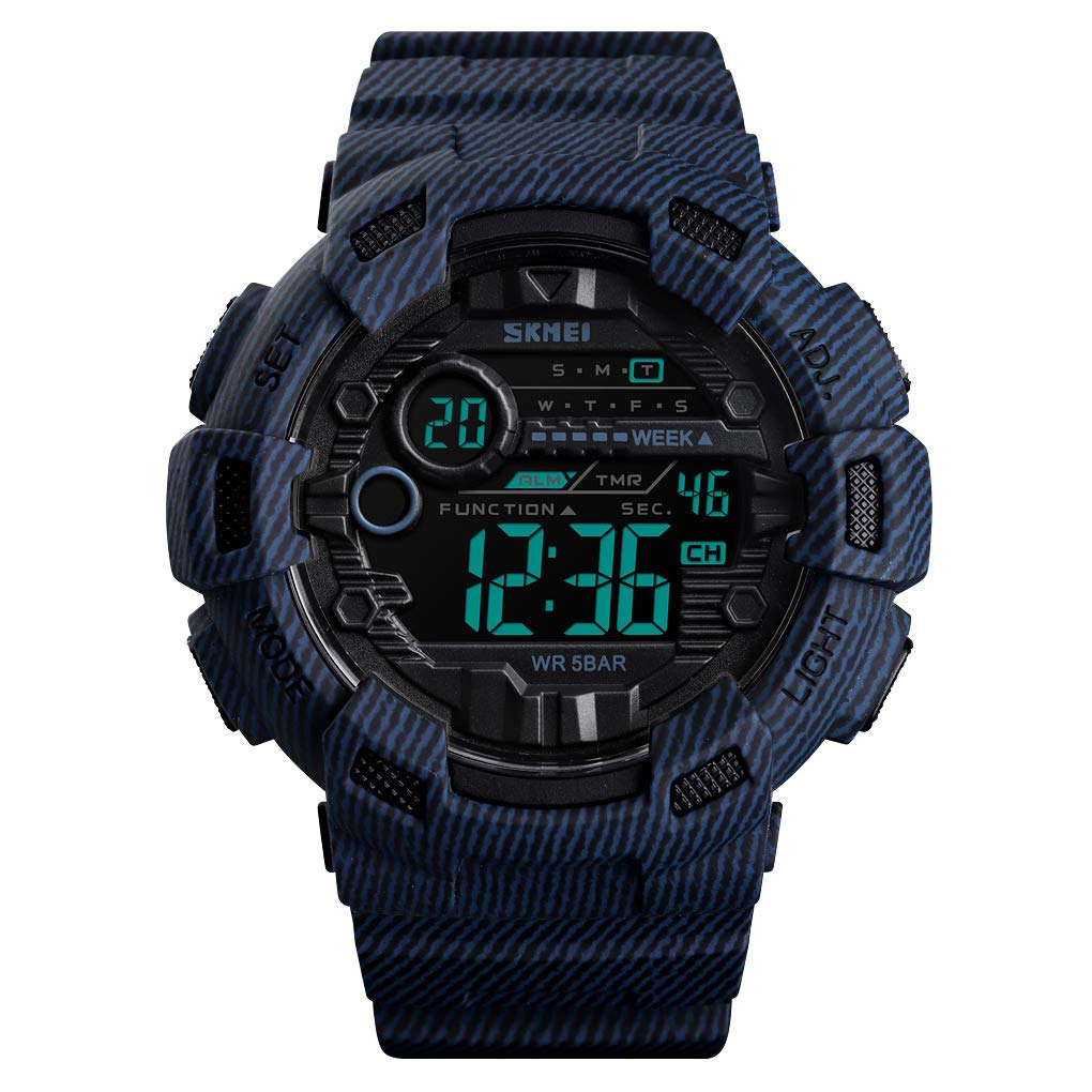 Kismary Boys Camouflage Waterproof Sports Digital Watch Outdoor, Camouflage Military Silicone Luminous Army Time LED Sport Watch for Teenagers (Denim Blue) by Kismary