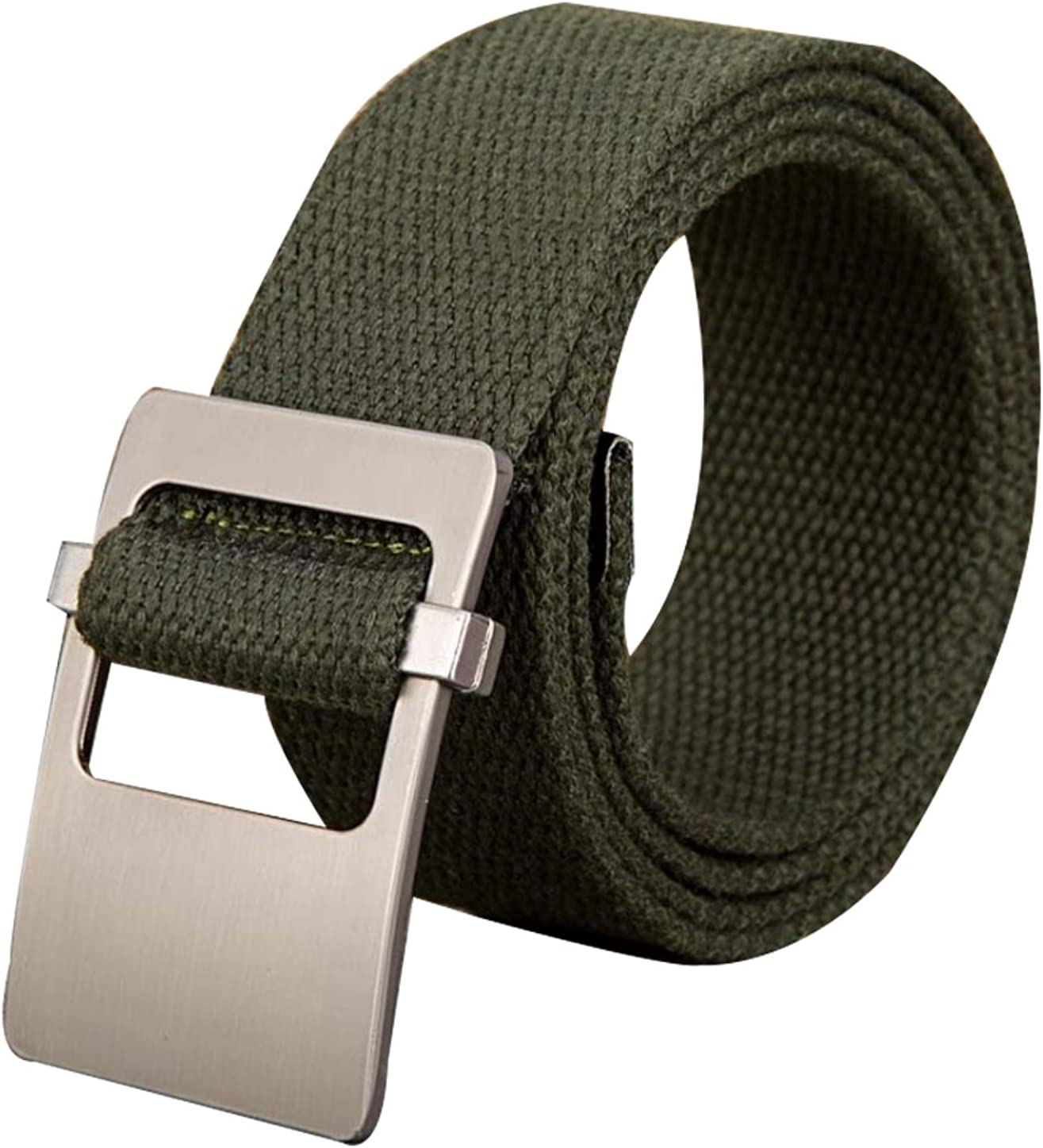 "KHAKI CANVAS MILITARY BELT WITH GOLD SLIDE BUCKLE 52"" TOTAL LENGTH NEW"
