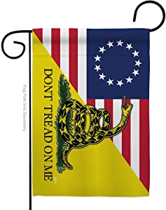 Historic Betsy Ross Don't Tread On Me Garden Flag Patriotic July Memorial Veteran Independence United State American Small Decorative Gift Yard House Banner Double-Sided Made in USA 13 X 18.5