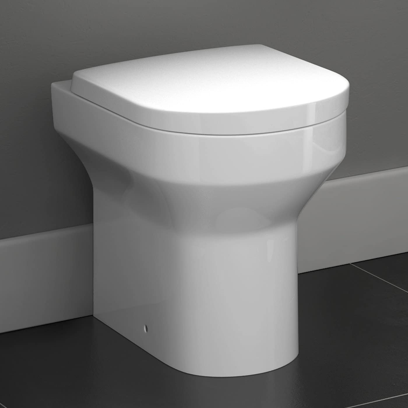 Back To Wall Toilet Pan & Soft Close Seat Modern Ceramic Bathroom WC