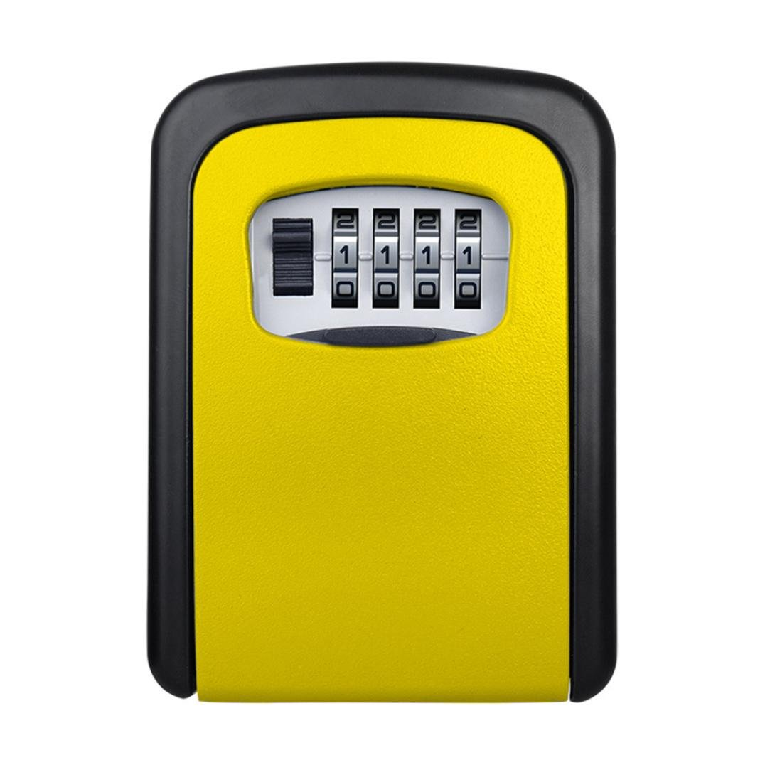 LiPing 4 Digit Outdoor High Security Wall Mounted Key Safe Box Code Secure Lock-Storage (Yellow)