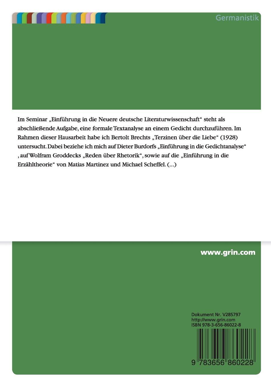Gedichtanalyse liebe terzinen die über Brecht: Terzinen