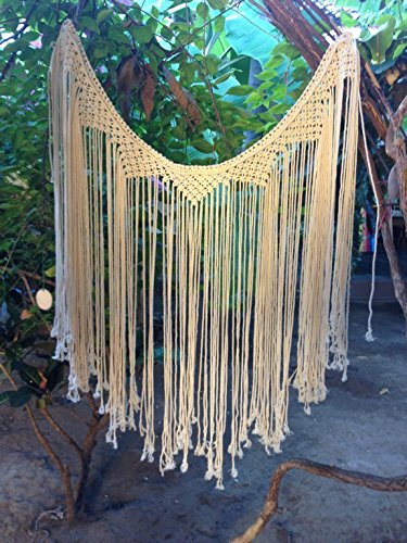 (Mission Hammocks Macrame Curtains, Macrame Wall Hanging, Macrame Art, Tapestry Wall Hanging, Bohemian House, Bohemian Decor, Bohemain Tapestry, Boho Tapestry - Socially Positive! (Without Bar) )