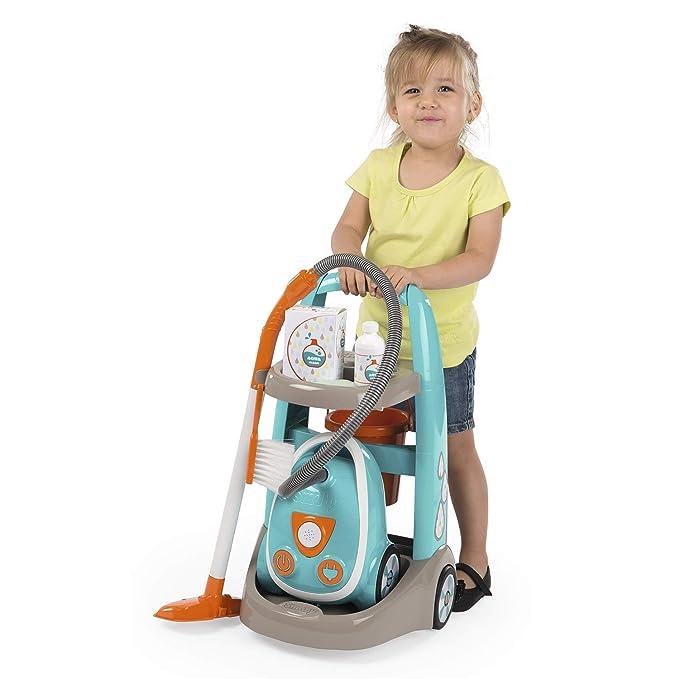 Smoby Carrito de Limpieza con Aspirador y Accesorios 330309, Color Azul y Naranja (: Amazon.es: Juguetes y juegos