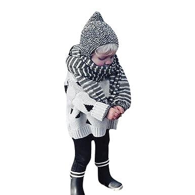 YanHoo Ropa para niños Traje de otoño e Invierno Niñas Ropa de Punto suéter de árbol de Navidad Cardigan Coat Tops Abrigo de Jersey de Punto para ...