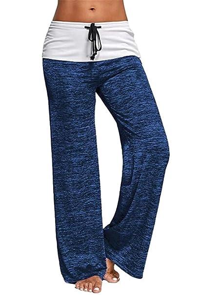 BOZEVON Mujer Pantalones Anchos de Pierna Pantalones de Yoga ...