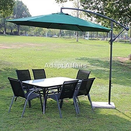 Invezo Impression Luxury Side Pole Patio Umbrella 9 Ft Diameter Green Color With Base