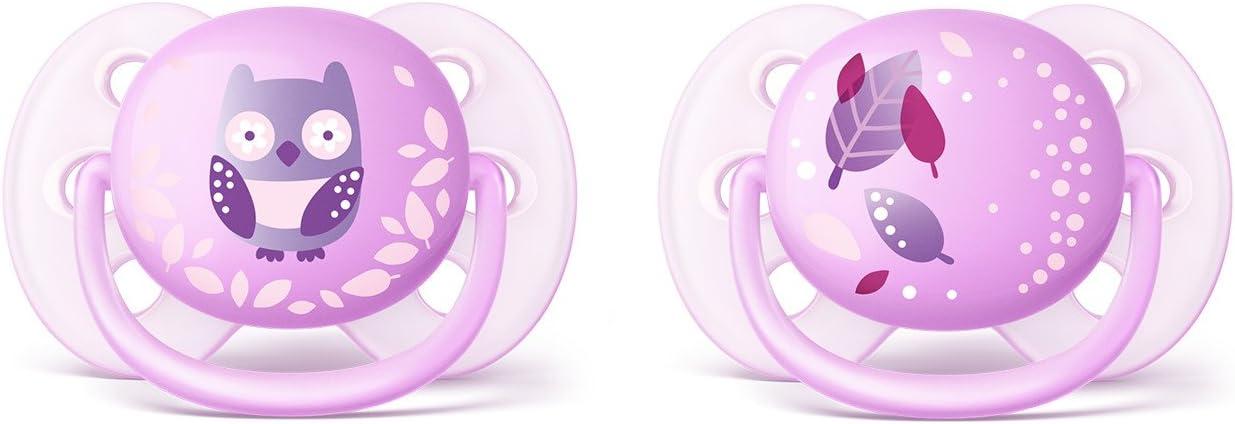 decorados 0-6 meses color rosa durazno Pack de dos chupetes ultra suaves y flexibles ni/ña Philips Avent SCF223//20