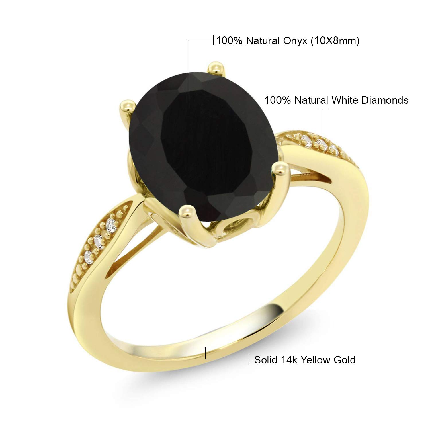 d4a56376adf10 Gem Stone King 14K Yellow Gold Black Onyx and Diamond Women's Ring 2.54 Ct  Oval (Available 5,6,7,8,9)