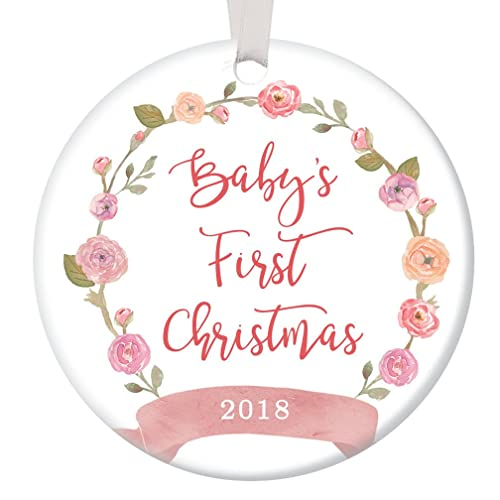 Amazon.com: Girl Baby's First Christmas Ornament 2018, Pink Floral ...