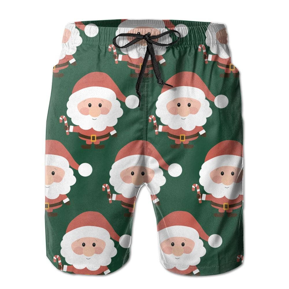 Men's Christmas Santa Clause Quick Dry Lightweight Fashion Board Shorts Swim Trunks XXL by COOA