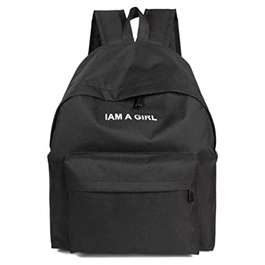 9161da41a1 Image Unavailable. Image not available for. Color  Solid Color Backpacks  Teenage Girls Canvas Portfolio School Teenagers Bags Women ...