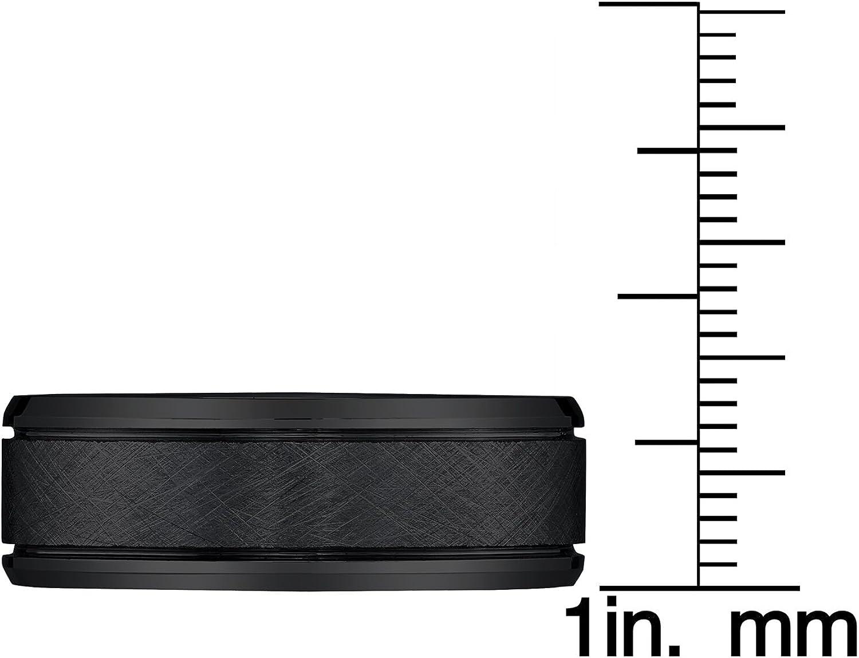 AX Jewelry Black Tungsten 8mm Textured Mens Band