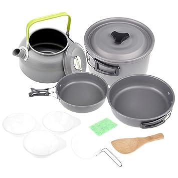 Lixada Senderismo Kit sartenes para 2 – 3 personas, de aluminio & Plástico, 11
