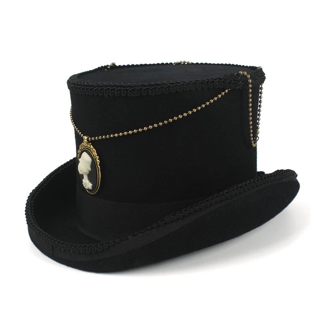 LL Women's Top Hat Steampunk Hat Vintage Wool Feathered 100% Wool DIY (Color : Black, Size : 59CM)