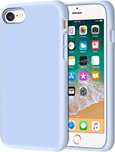 """Anuck iPhone SE 2020 Case, iPhone 8 Case, Non-slip Liquid Silicone Gel Rubber Bumper Case Soft Microfiber Lining Hard Shell Shockproof Full-body Protective Case Cover for iPhone 7/8/SE 4.7"""" Light Blue"""