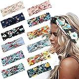 LOLIAS 12 Pack Headbands for Women Elastic Boho Flower Yoga Head Wrap Hair Band Soft (B:12 Pcs a Pack)